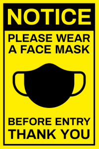 Please Wear Face Mask Sign Template Poster