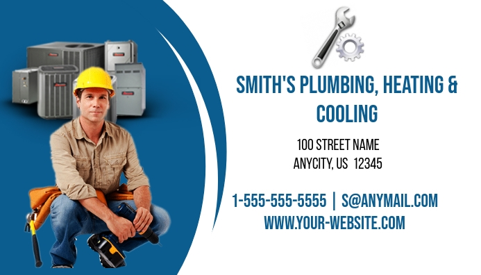 Plumbing Heating And Cooling Business Card Template Postermywall