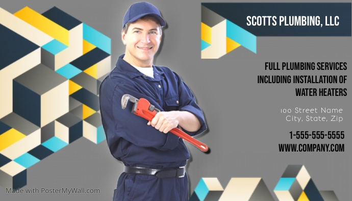 Plumbing Business Card Template Postermywall