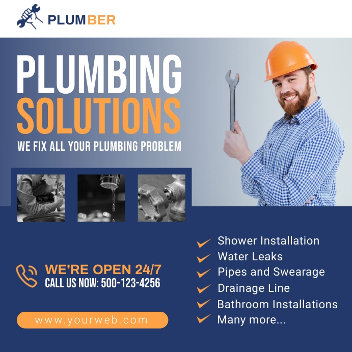 Plumbing Promotion Social Media Post Square (1:1) template