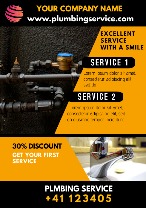 Plumbing Service Flyer Ad A1 template