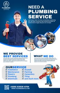 plumbing service flyer Demi-page de format Wide template