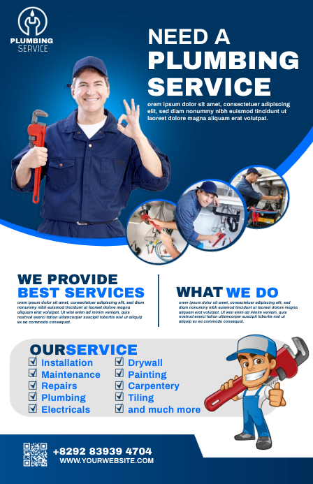 plumbing service flyer Halve pagina breed template