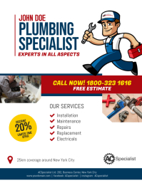 Plumbing Service Flyer Poster Template