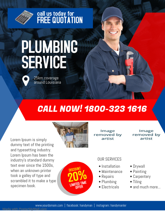 Plumbing Service Flyer Template PosterMyWall