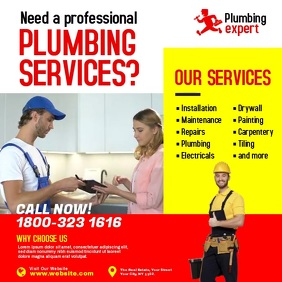 Plumbing Services Ads Instagram Post template