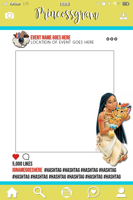 Pocahontas Party Prop Frame