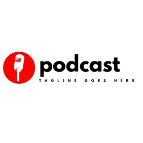 podcast red white and black simple logo