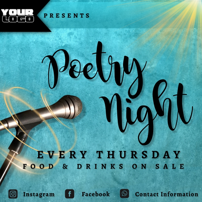 Poetry Night Flyer Publicación de Instagram template