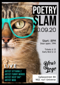 Poetry Slam Comedy Stand up Microphone Poster Flyer LYRICS