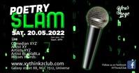 Poetry Slam Event Comedy Letters Matrix Ad Facebook-gebeurtenisomslag template