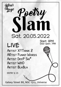 Poetry Slam Microphone Poster Flyer A4 template