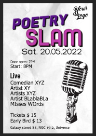 Poetry Slam Poster Flyer Microphone Comedy A4 template