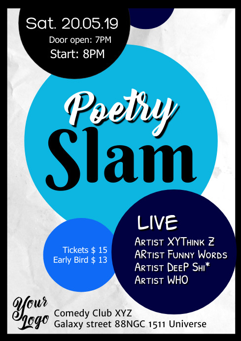 Poetry Slam Poster Flyer Event A4 template