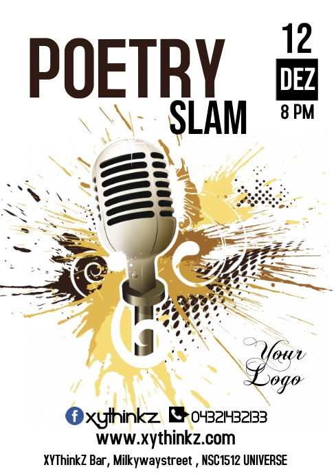 Poetry Slam War of Words Poster Flyer Event