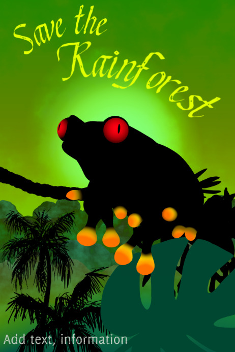 poisonous tree frog - save the rainforest poster