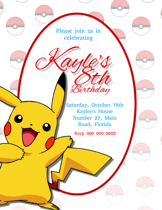 Pokemon Birthday Party Invitation Template Flyer (US Letter)
