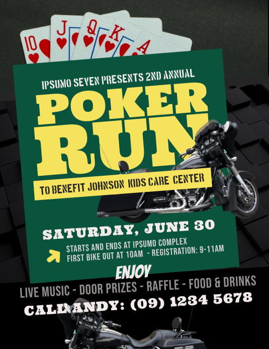 Poker Run Flyer Template