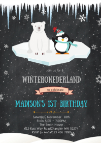 Polar bear and penguin invitation