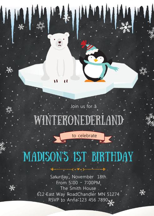 Polar bear and penguin invitation