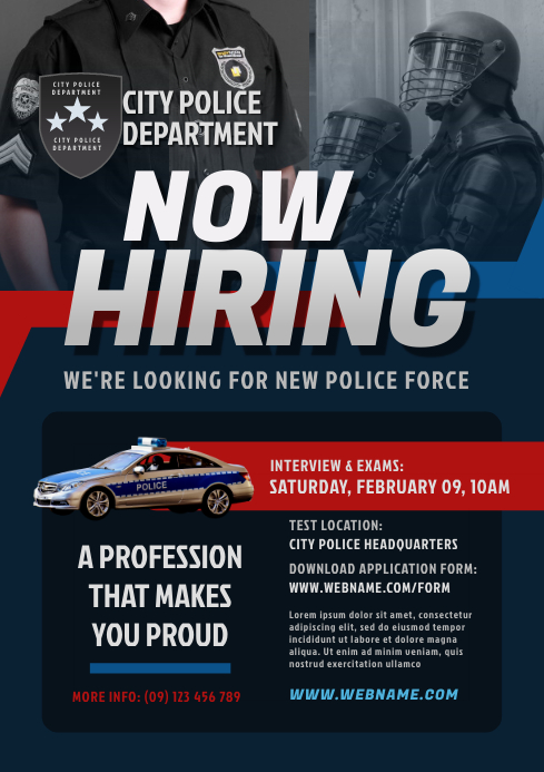 Police Recruitment Flyer Template A4
