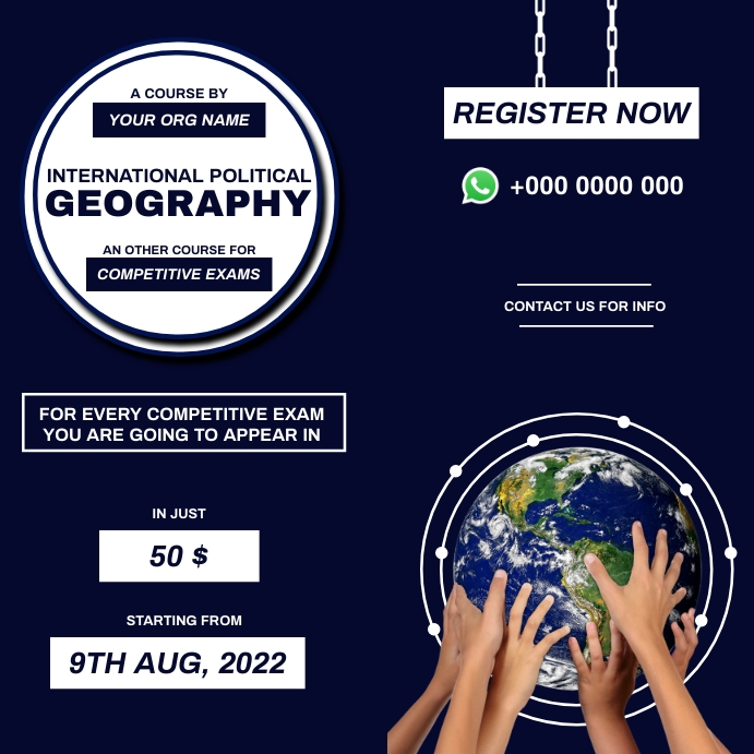 Political Geography course for competitive ex Wpis na Instagrama template