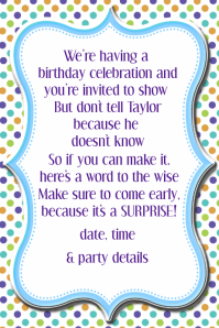 Polka Dot Birthday Party Invitation Announcement Poster