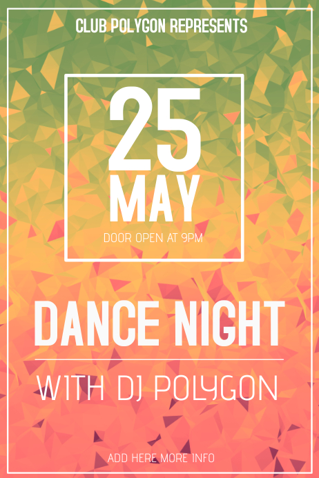 polygon club poster template landscape dance night | PosterMyWall