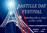 Bastille day festival celebration Postcard template