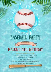 Pool baseball birthday invitation