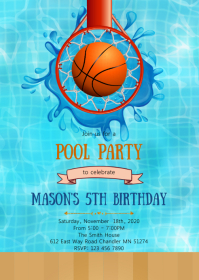 Pool basketball birthday invitation
