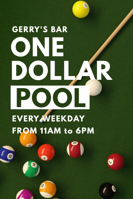 Pool Billiards Bar Promo Poster