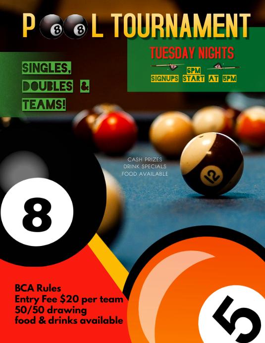 pool billiards league tournament flyer