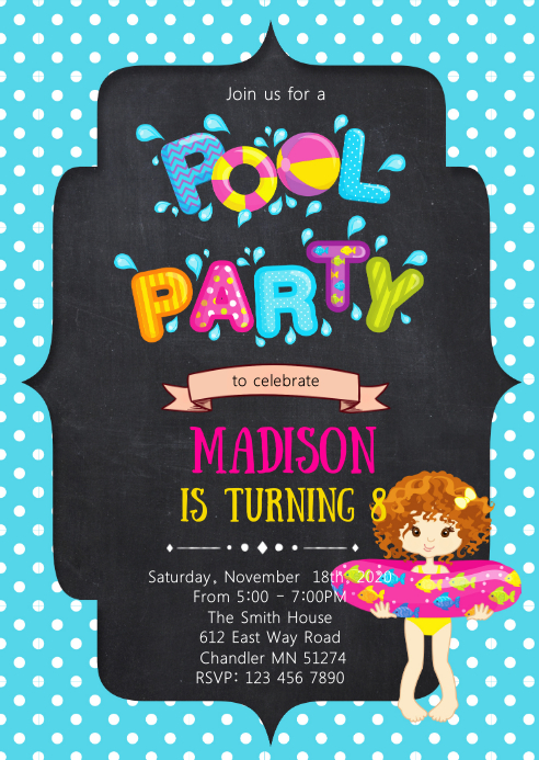 Pool birthday party invitation A6 template