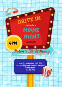 Pool Drive in movie night birthday invitation A6 template