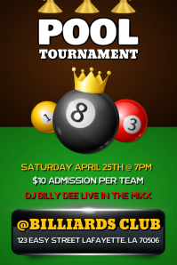 POOL GAME TOURNAMENT FLYER TEMPLATE Poster
