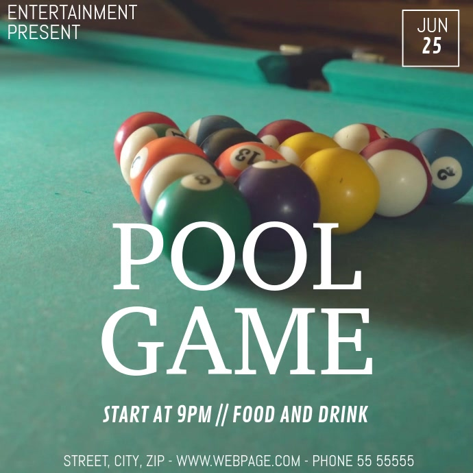 Pool game video flyer template