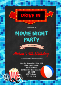 Pool movie drive in Party invitation A6 template