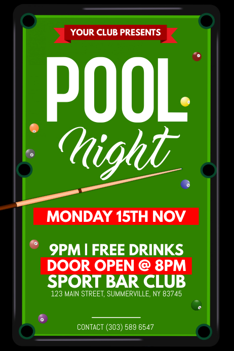 pool night poster template