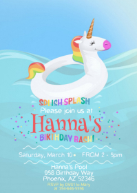 Pool Party Birthday Invitation 02