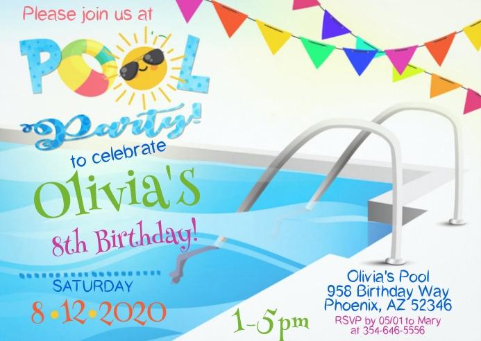 Pool Party Birthday Invitation 03