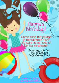 Pool Party Birthday Invitation 07 A6 template