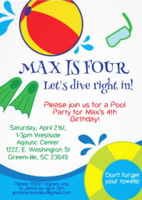 Pool Party Birthday Invitation 08 A6 template