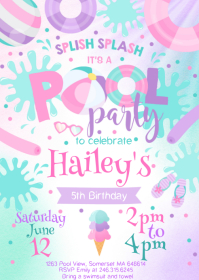 Pool Party Birthday Invitation 10
