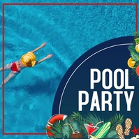 Pool party Message Instagram template