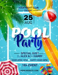 Pool Party Flyer (US Letter) template