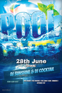 customizable design templates for summer pool party flyer postermywall