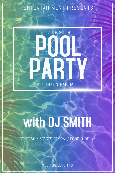 Pool party poster flyer template | PosterMyWall