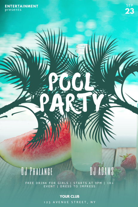 Free Pool Party Flyer Template from d1csarkz8obe9u.cloudfront.net
