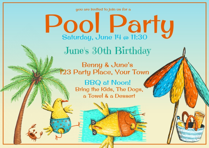 Pool Party Funny Invitation Postal template